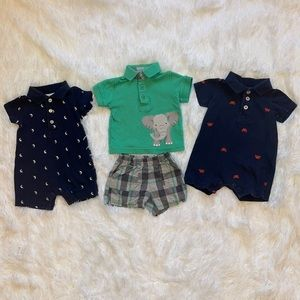 $5 Sale Boys Newborn Rompers and Shirt/Short Set